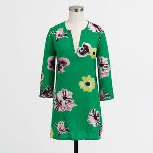 J Crew Swim Green Floral Cover-Up Tunic
